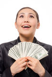 Młody azjatykci bizneswoman z pieniądze Zdjęcie Royalty Free