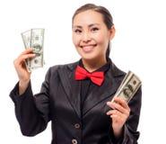 Młody azjatykci bizneswoman z pieniądze Obraz Royalty Free
