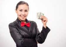 Młody azjatykci bizneswoman z pieniądze Zdjęcia Stock