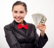 Młody azjatykci bizneswoman z pieniądze Zdjęcia Royalty Free