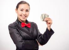Młody azjatykci bizneswoman z pieniądze Obrazy Stock