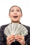Młody azjatykci bizneswoman z pieniądze Fotografia Stock