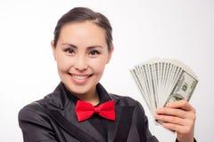 Młody azjatykci bizneswoman z pieniądze Obrazy Royalty Free