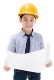 Młody azjatykci dziecko budowy inżyniera mienia wyposażenie Obraz Royalty Free