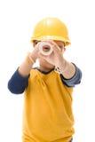 Młody azjatykci dziecko pracownika budowlanego mienia wyposażenie Obraz Stock