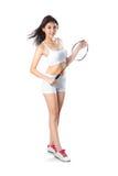 Młody azjatykci kobiety mienia badminton kant, obraz stock