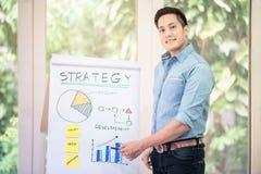 Młody azjatykci przedsiębiorcy kocowania produkt w pudełko zdjęcia stock