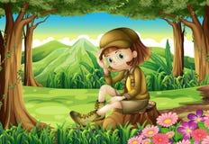Młody badacz przy lasem royalty ilustracja
