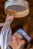 Młody Białoruski tancerz w tradycyjnym kostiumu Obrazy Stock