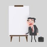 Młody biznesmen daje prezentaci przy białą deską ilustracja wektor