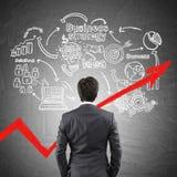 Młody biznesmen i jego biznesowy plan obrazy stock