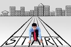 Młody biznesmen na początek linii Zdjęcie Stock