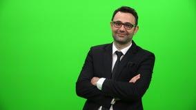 Młody biznesmen na zielonym ekranie zdjęcie wideo