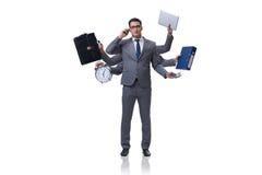 Młody biznesmen w multitasking pojęciu Fotografia Stock
