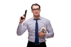 Młody biznesmen z pistoletem odizolowywającym na bielu Obraz Stock