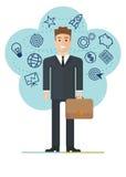 Młody biznesmen z walizką ilustracja wektor