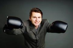 Młody biznesmena boks zdjęcie stock