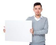 Młody biznesmena przedstawienie z białym sztandarem Fotografia Stock