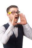 Młody biznesmena wrzeszczeć odizolowywam na bielu Zdjęcia Royalty Free