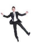 Młody biznesowego mężczyzna latanie odizolowywający na białym tle fotografia royalty free