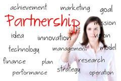 Młody biznesowej kobiety writing partnerstwa pojęcie. Odizolowywający na bielu. Obrazy Stock