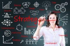 Młody biznesowej kobiety writing strategii biznesowej pojęcie Zdjęcie Royalty Free