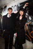 Młody biznesowy mężczyzna i kobieta przy grunge graffit Zdjęcie Royalty Free