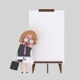 Młody bizneswoman daje prezentaci przy białą deską ilustracja wektor