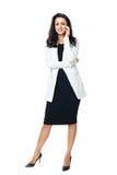 Młody bizneswoman odizolowywający na bielu Zdjęcia Royalty Free