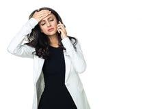 Młody bizneswoman odizolowywający na bielu Fotografia Royalty Free