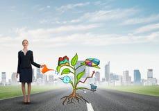Młody bizneswoman outdoors nawadnia rysującego wzrostowego pojęcie z puszką Obraz Royalty Free