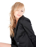 Młody bizneswoman pozuje nad białym tłem Fotografia Stock