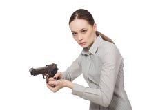 Młody bizneswoman w śmiesznym pojęciu na bielu Fotografia Royalty Free