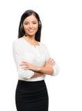 Młody bizneswoman w czarny formalnym odziewa na bielu zdjęcia royalty free