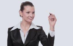 Młody bizneswoman z piórem odizolowywającym Zdjęcia Royalty Free