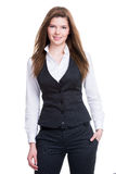 Młody bizneswoman z ręką w kieszeni. zdjęcia royalty free