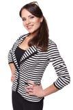 Młody bizneswoman z szkłami na ona kierownicza odosobniony Obraz Royalty Free