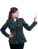 Młody bizneswomanu Wskazywać Oddolny obrazy stock