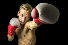 Młody bokser wykonuje poncz Fotografia Royalty Free