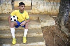 Młody Brazylijski piłka nożna gracz futbolu fotografia royalty free