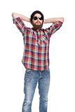 Młody brodaty lumberjack zdjęcie stock