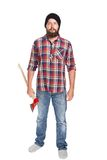 Młody brodaty lumberjack pozuje z ax obraz royalty free