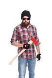 Młody brodaty lumberjack z ax fotografia royalty free