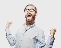 Młody brodaty mężczyzna z dobrym pomysłu znakiem Zdjęcie Royalty Free