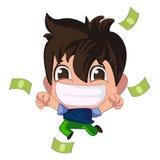 Młody brunetka faceta naprawdę szczęśliwy cieszy się ogromny prezent zielonego pieniądze dolary z oba rękami ilustracji