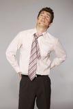 Młody caucasian biznesmen z pomadka buziaka oceną na jego policzku Zdjęcia Stock