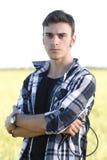 Młody chłodno młody piosenkarz zdjęcie royalty free