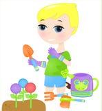 Młody chłopiec ogrodnictwo Ilustracja Wektor