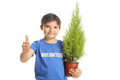 Młody chłopiec wolontariusz z rośliną robi aprobatom fotografia stock
