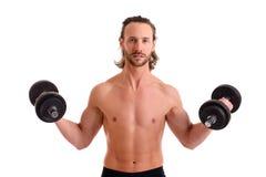 Młody człowiek ćwiczący ciało pociąg z Bell Zdjęcia Royalty Free